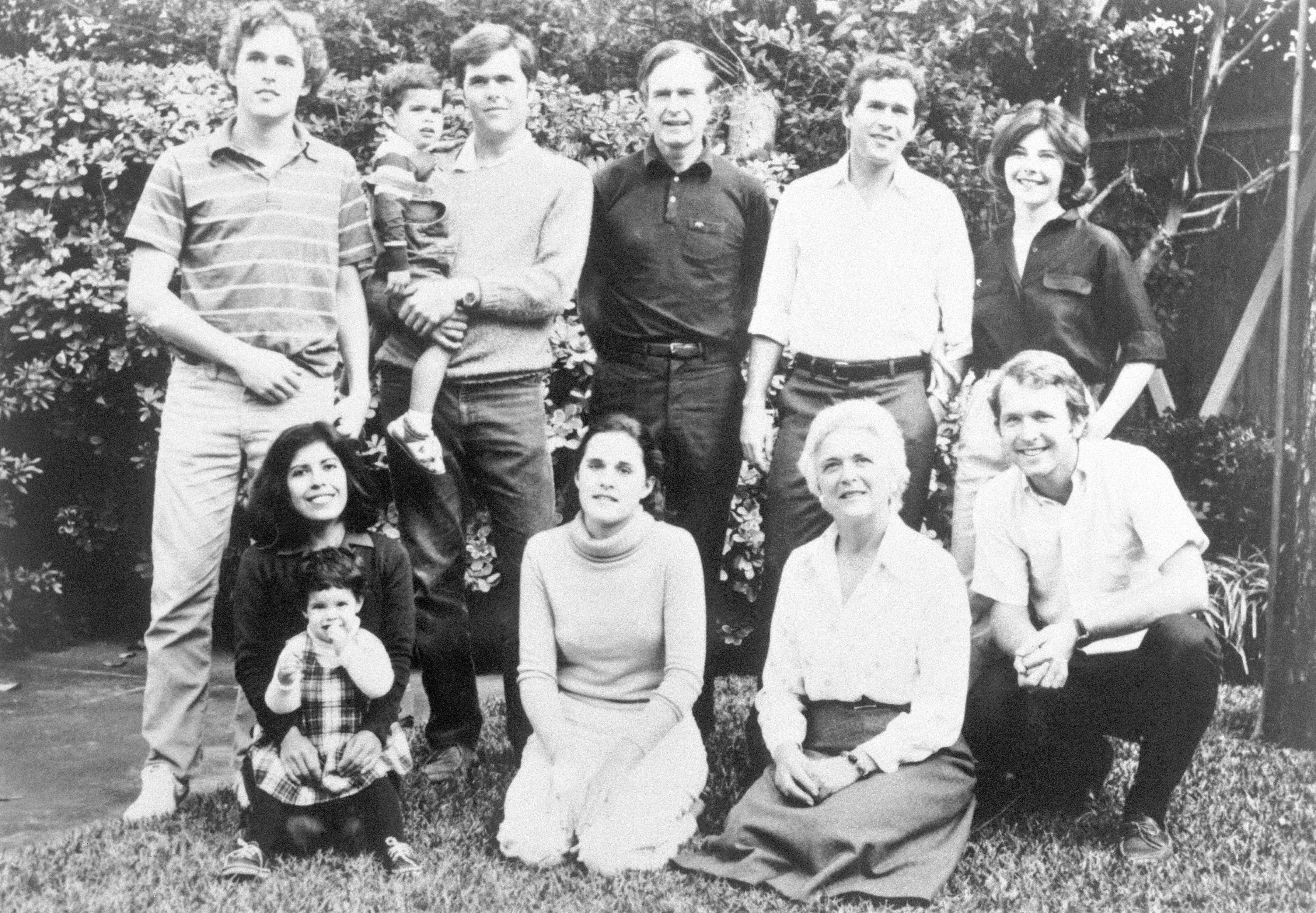 Bush Family Photo. Top, Left to right: Marvin, 22; George, 3; Jeb, 26; George; George W., 33; George's wife, Laura. Bottom, left to right: Jeb's wife, Columba; Noelle, 2; Dorothy, 20; Barbara; Neil, 24.   Source: Getty Images
