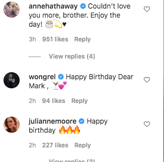 A screenshot of Anne Hathaway's comment on Mark Ruffalo's post on his instagram page   Photo: Getty Images