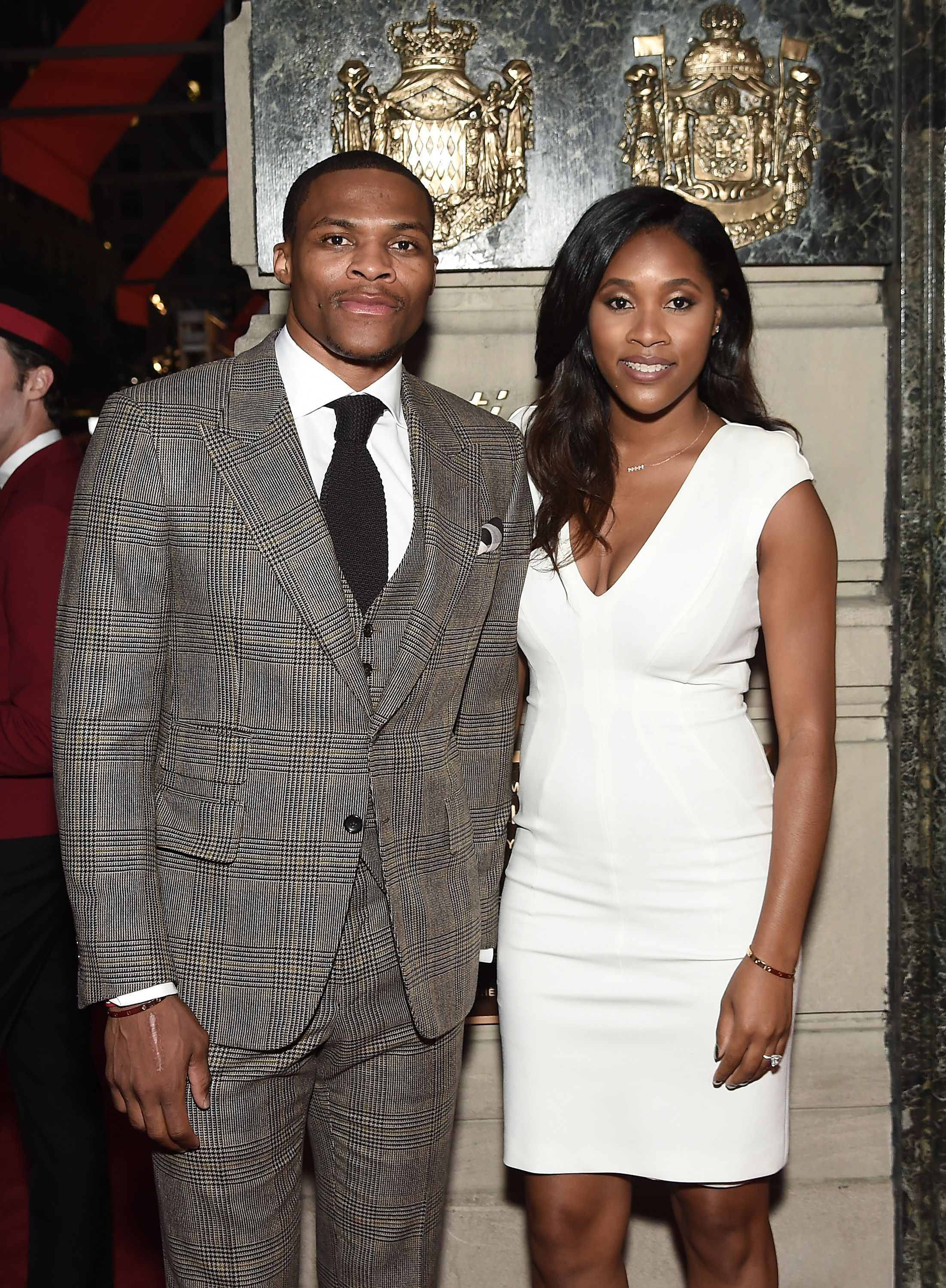 Russell Westbrook and wife Nina Westbrook attend The Cartier Fifth Avenue Grand Reopening Event at the Cartier Mansion on September 7, 2016 in New York City.   Source: Getty Images