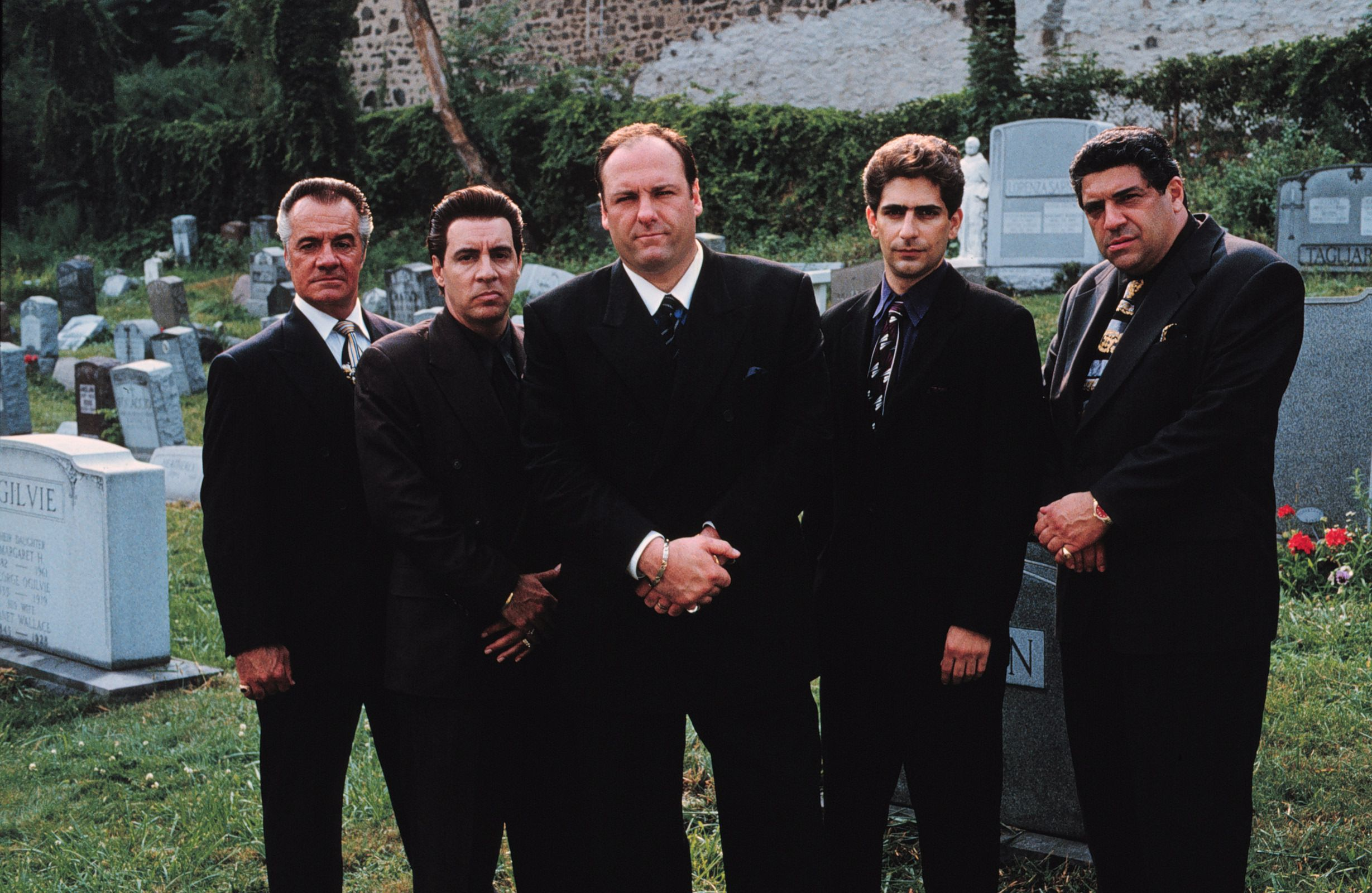 """From left to right: Tony Sirico, Steven Van Zandt, James Gandolfini, Michael Imperioli & Vincent Pastore in a publicity still for HBO's """"The Sopranos""""   Photo: Anthony Neste/Getty Images"""