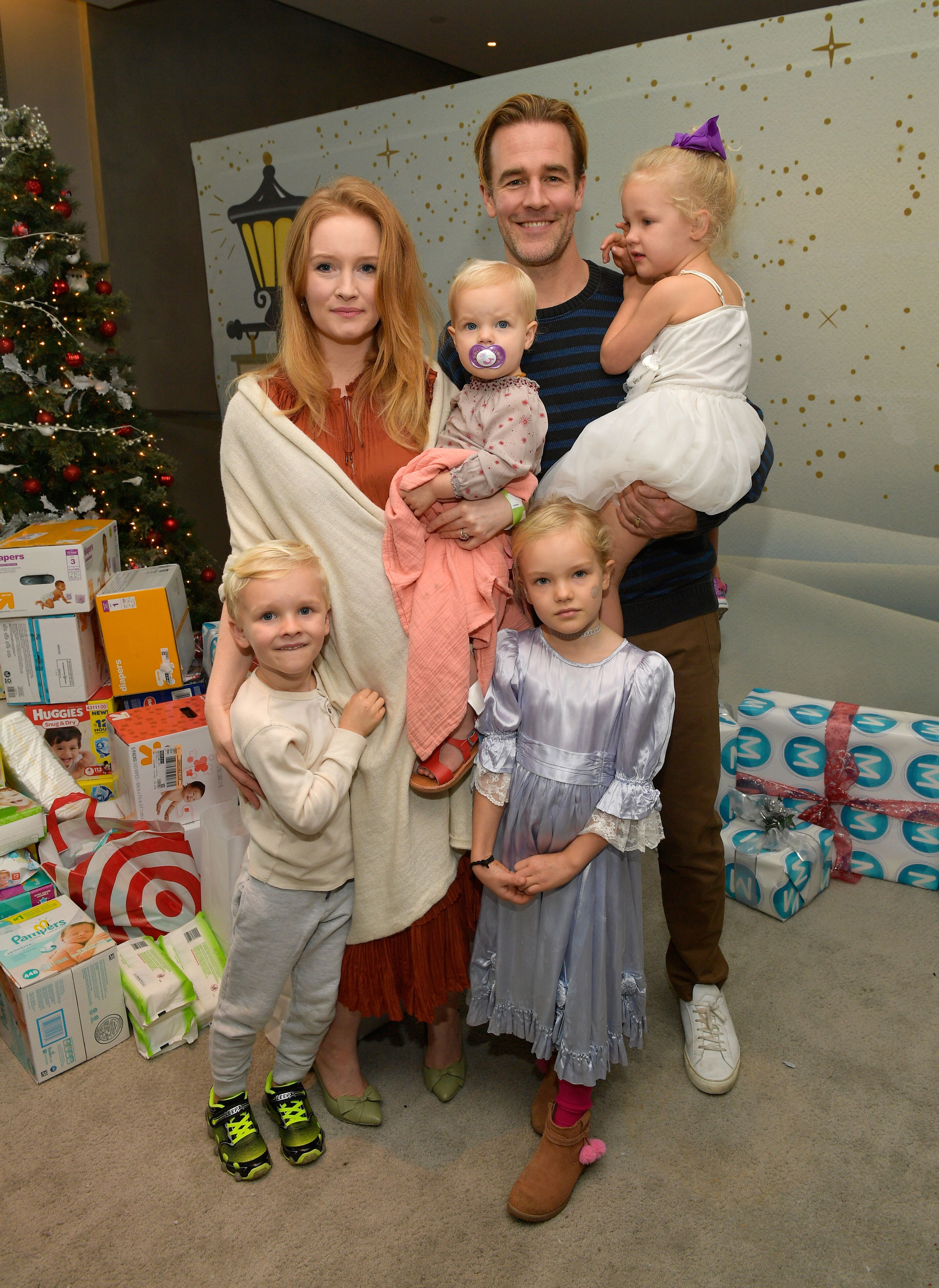 Kimberly Brook James Van Der Beek (R), and family at the 7th Annual Santa's Secret Workshop benefiting LA Family Housing at Andaz. | Source: Getty Images