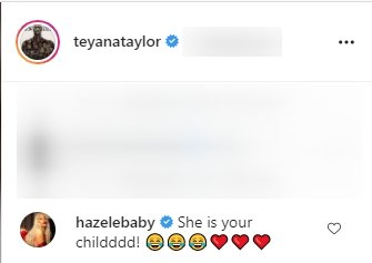 A comment on Teyana Taylor's Instagram post featuring her daughter, Junie. | Photo: Instagram/teyanataylor