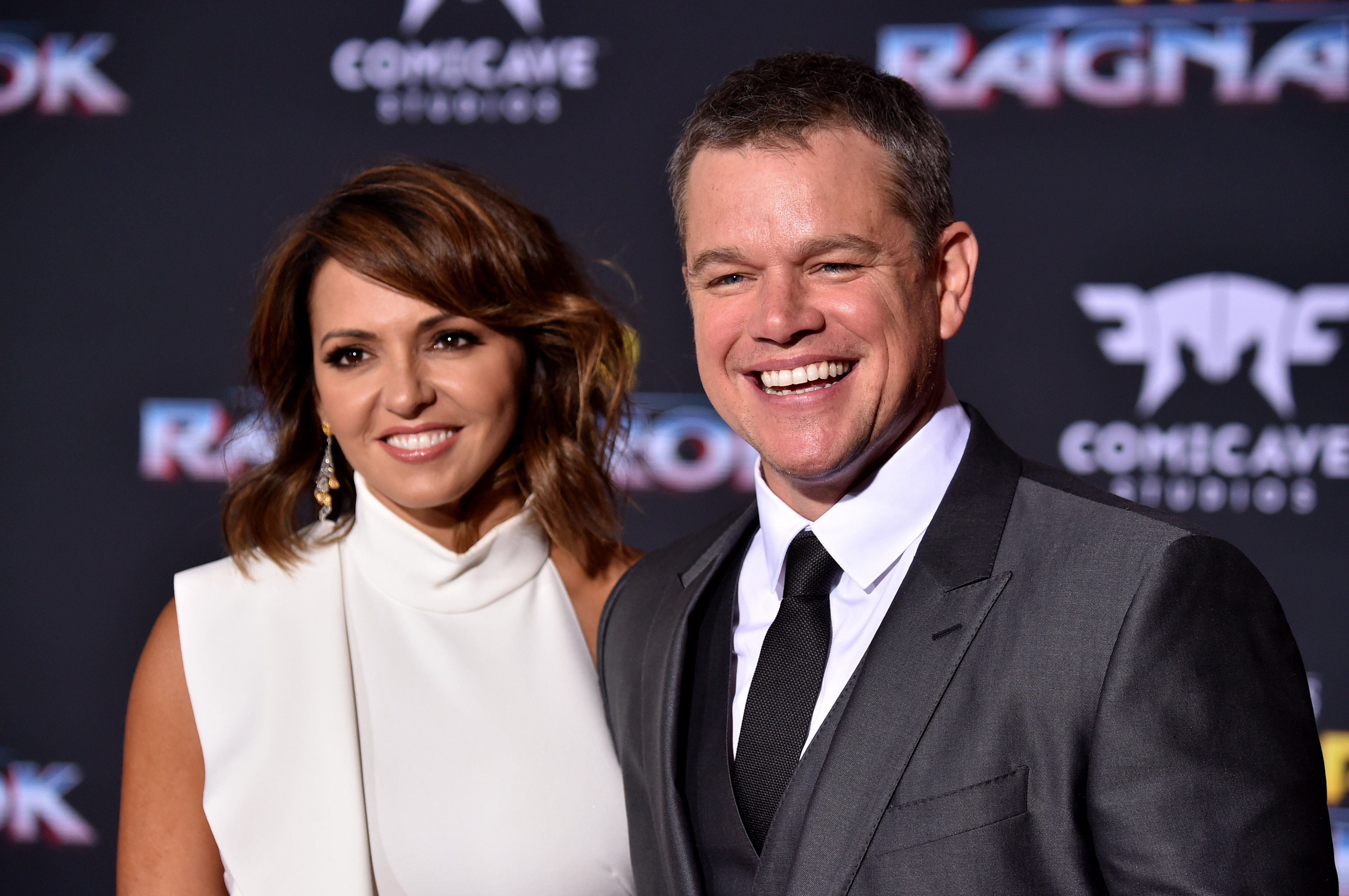 """Matt Damon, Luciana Barroso arrive at the Premiere Of Disney And Marvel's """"Thor: Ragnarok"""" - Arrivals on October 10, 2017 in Los Angeles, California 