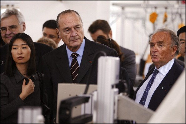 President Jacques Chirac Visits The Digital Electronics Factory (Schneider Electric Group) On March 27Th, 2005 In Osaka, Japan - Jacques Chirac And Schneider Electric Ceo Henri Lachman. (Photo by Gilles BASSIGNAC/Gamma-Rapho via Getty Images)