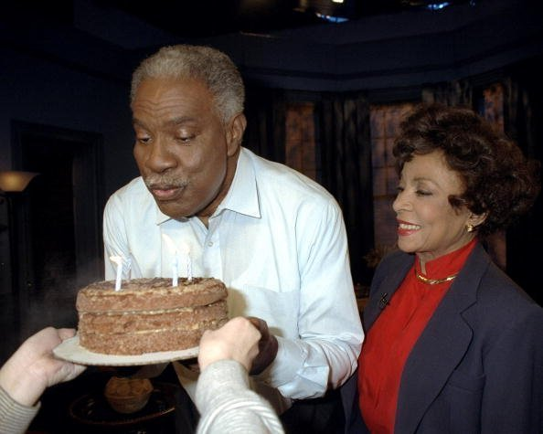 """Ossie Davis gets a surprise birthday party on the set of African Heritage Network's (AHN) """"Movie Of The Month"""" series which he and his wife Ruby Dee hosted. 