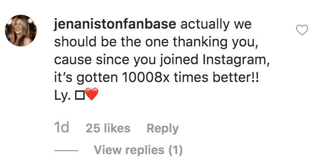 Jamie Mizrahi comments on Jennifer Aniston reaching 20 million followers on Instagram | Source: Instagram.com/jenniferaniston