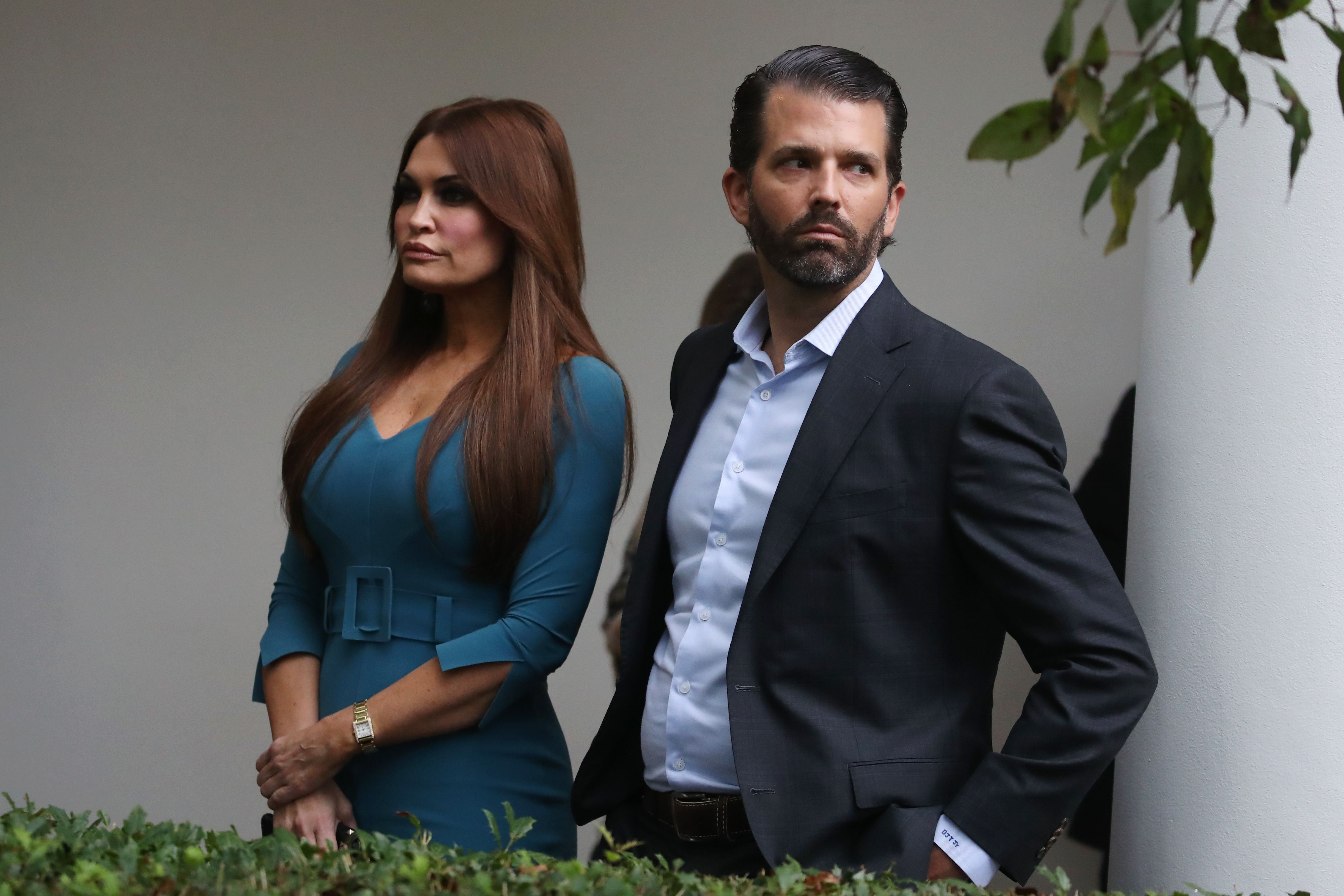 Kimberly Guilfoyle and Donald Trump Jr arriving to a press conference on the census by President Trump in the Rose Garden of the White House in Washington D.C. | Photo: Mark Wilson/Getty Images