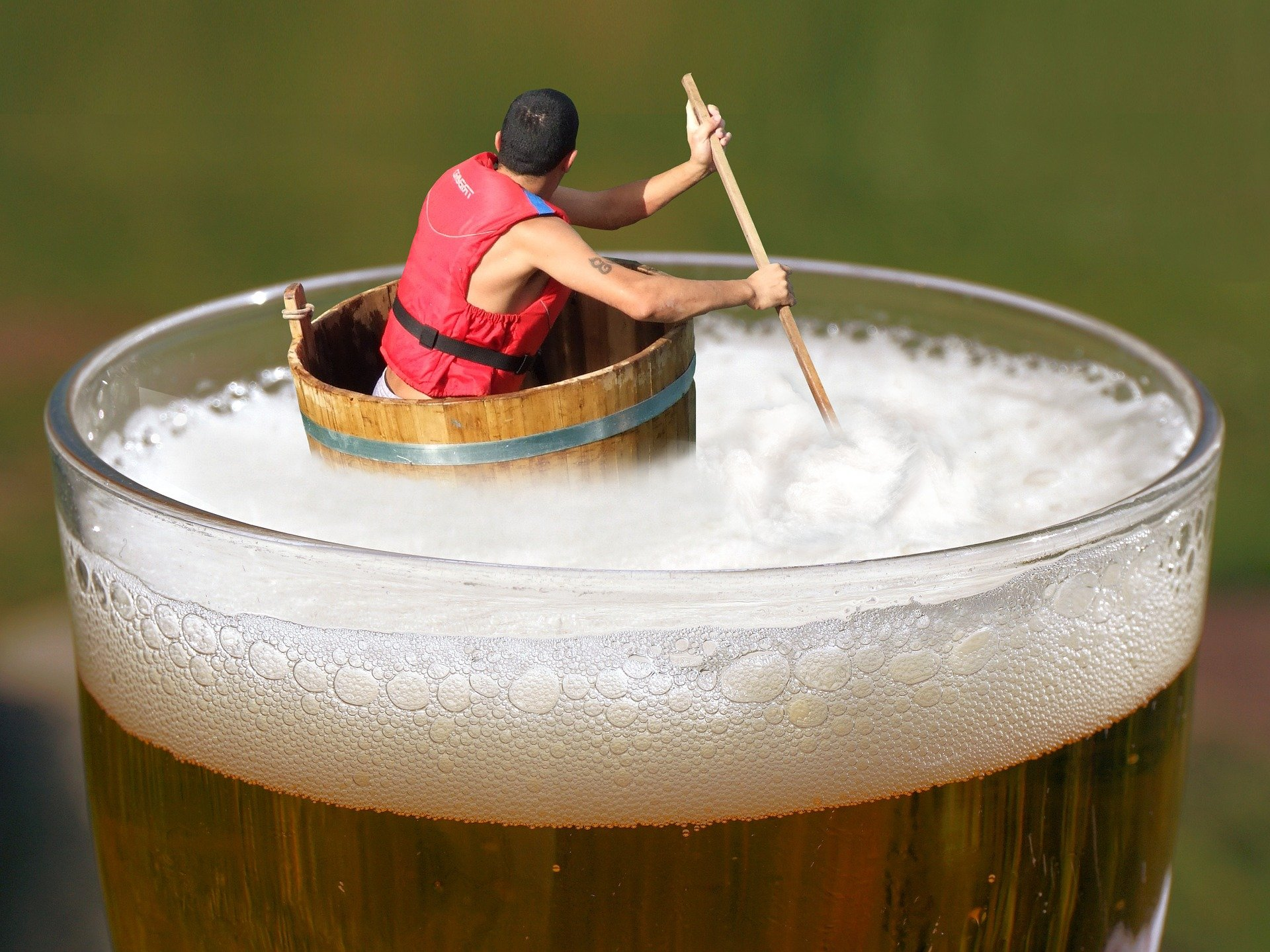 An illustration of a man who had to much beer to drink.   Source: Pixabay.