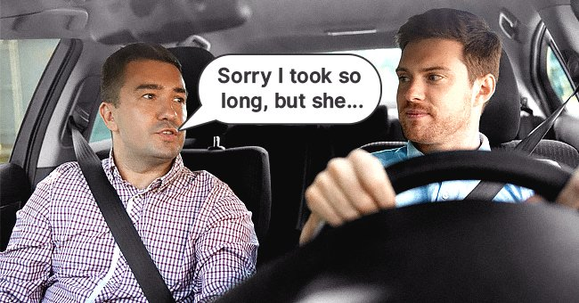 A cab passenger apologizing for his lateness to the cab driver | Source: Shutterstock