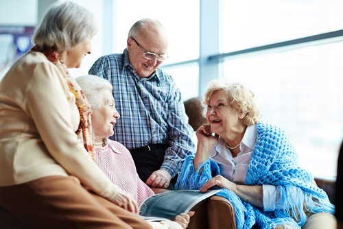 Group of senior friends chatting. | Source: Shutterstock