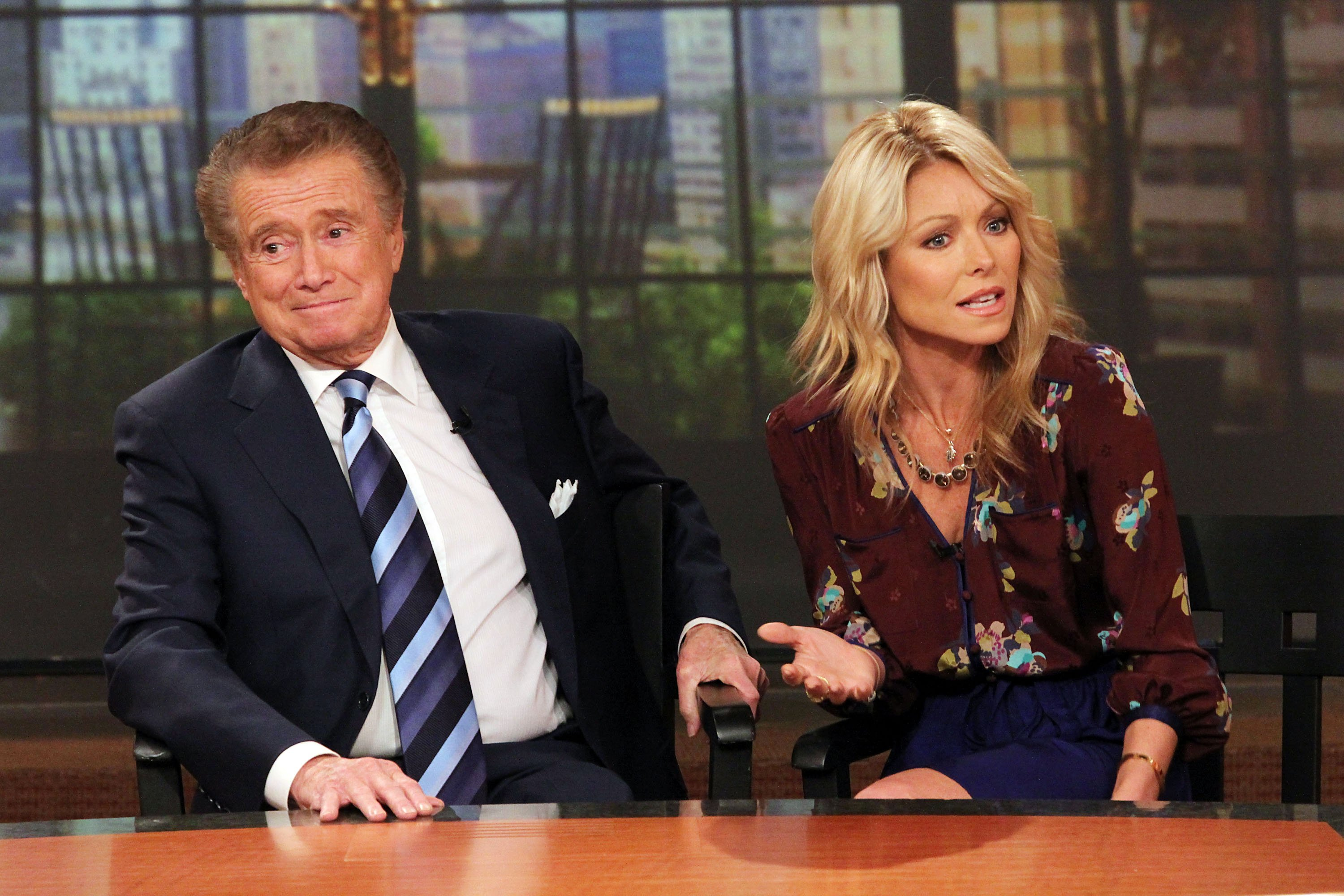 """Regis Philbin and Kelly Ripa attend a press conference on Regis's departure from """"LIVE! with Regis and Kelly"""" on November 17, 2011, in New York City. 