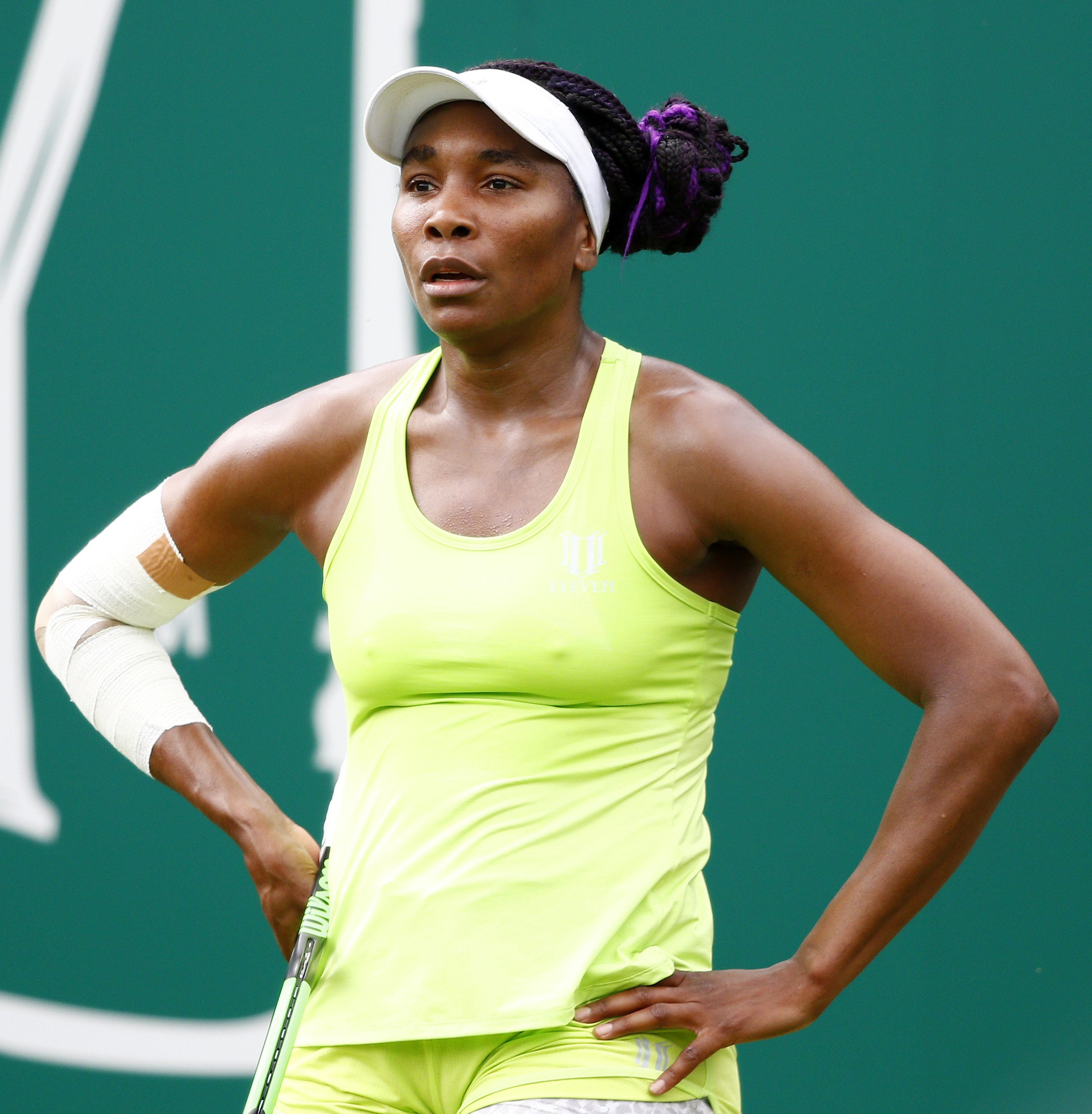 Venus Williams of USA focuses during her second round match agains Ashleigh Barty of Australia during day five of the Nature Valley Classic at Edgbaston Priory Club on June 21, 2019, in Birmingham, United Kingdom. | Source: Getty Images.