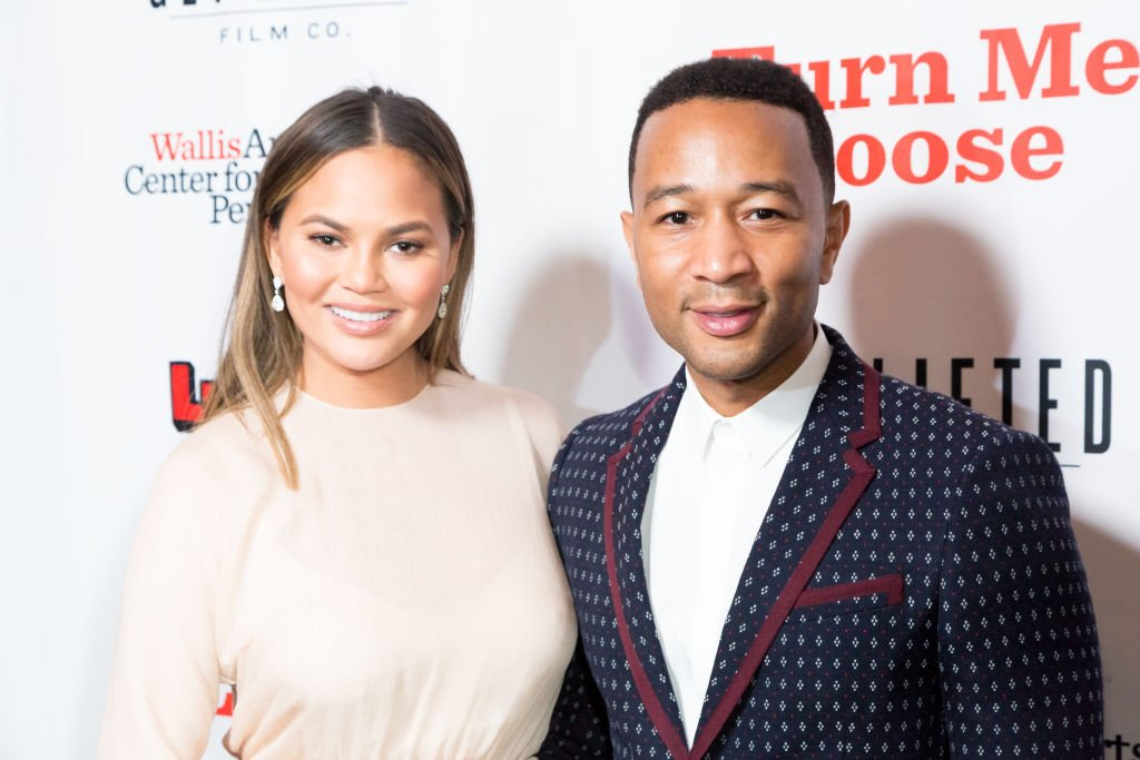 """Chrissy Teigen and John Legend at """"Turn Me Loose"""" at Wallis Annenberg Center for the Performing Arts on October 19, 2017. 