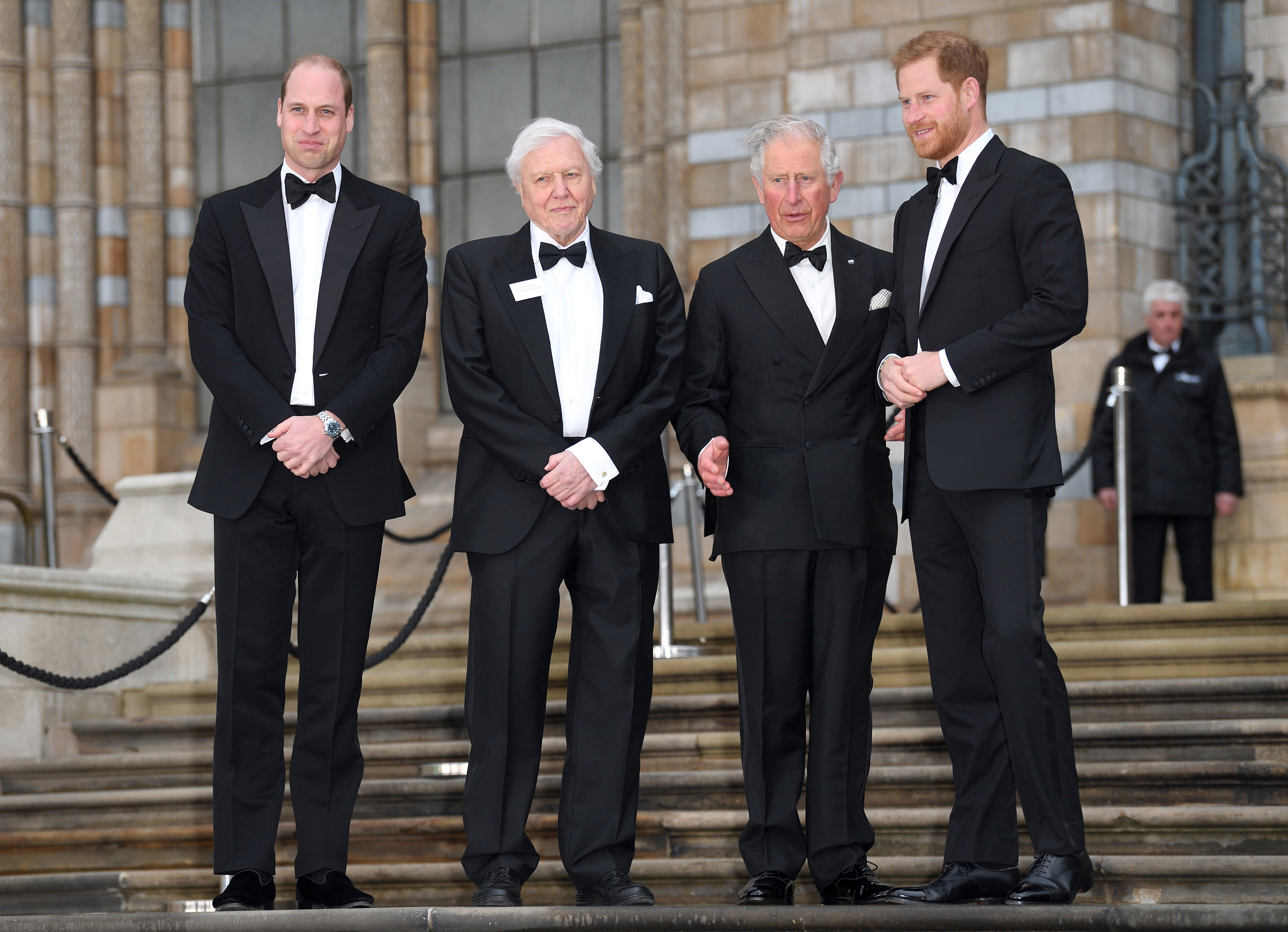 """Prince William, Sir David Attenborough, Prince Charles, and Prince Harry attend the """"Our Planet"""" global premiere at Natural History Museum on April 04, 2019 in London, England.   Source: Getty Images"""