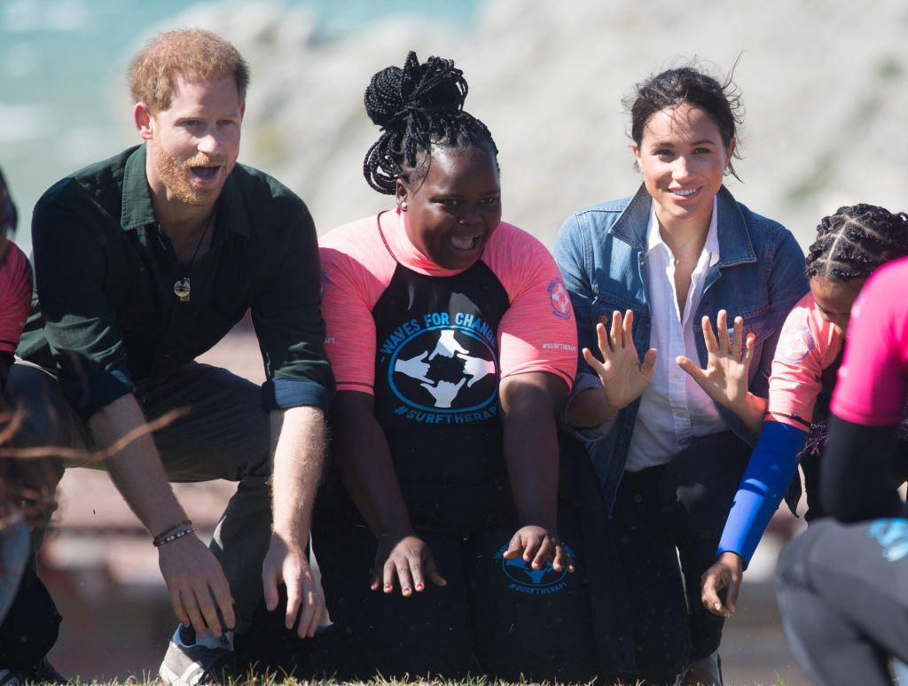 Prince Harry and Meghan Markle visit Waves for Change, an NGO, at Monwabisi Beach during their royal tour of South Africa, September 2019 | Source: Getty Images