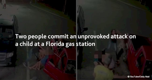 Two people commit an unprovoked attack on a child at a Florida gas station