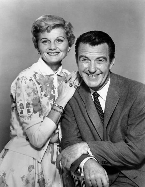 "Barbara Billingsley and Hugh Beaumont as June and Ward Cleaver from the television program ""Leave it to Beaver."" 