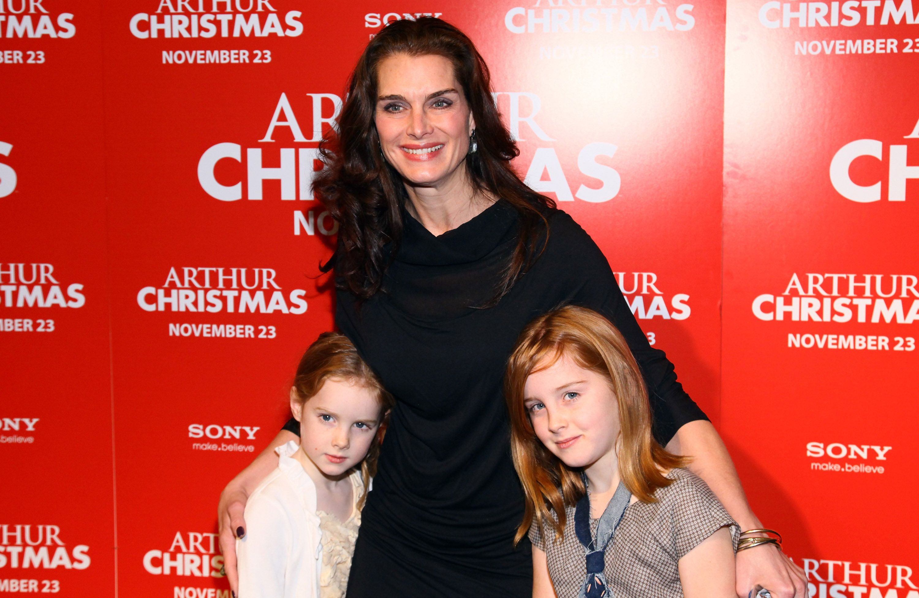 "Brooke Shields, Grier Hammond Henchy, and Rowan Francis Henchy at the ""Arthur Christmas"" premiere on November 13, 2011, in New York City 