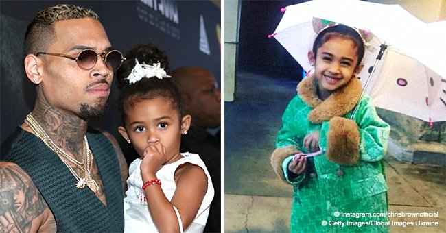 Chris Brown shares photo of his little 'princess' under a kitty umbrella