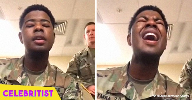 Soldiers still steal hearts with a cappella rendition of 'Amazing Grace' & 'God Bless America'