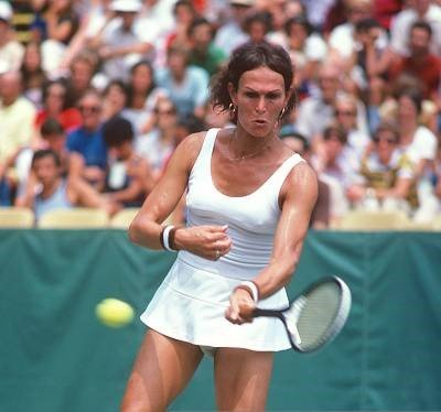 Renee Richards hits a return during the Women's 1977 US Open Tennis Championships circa 1977   Photo: Getty Images