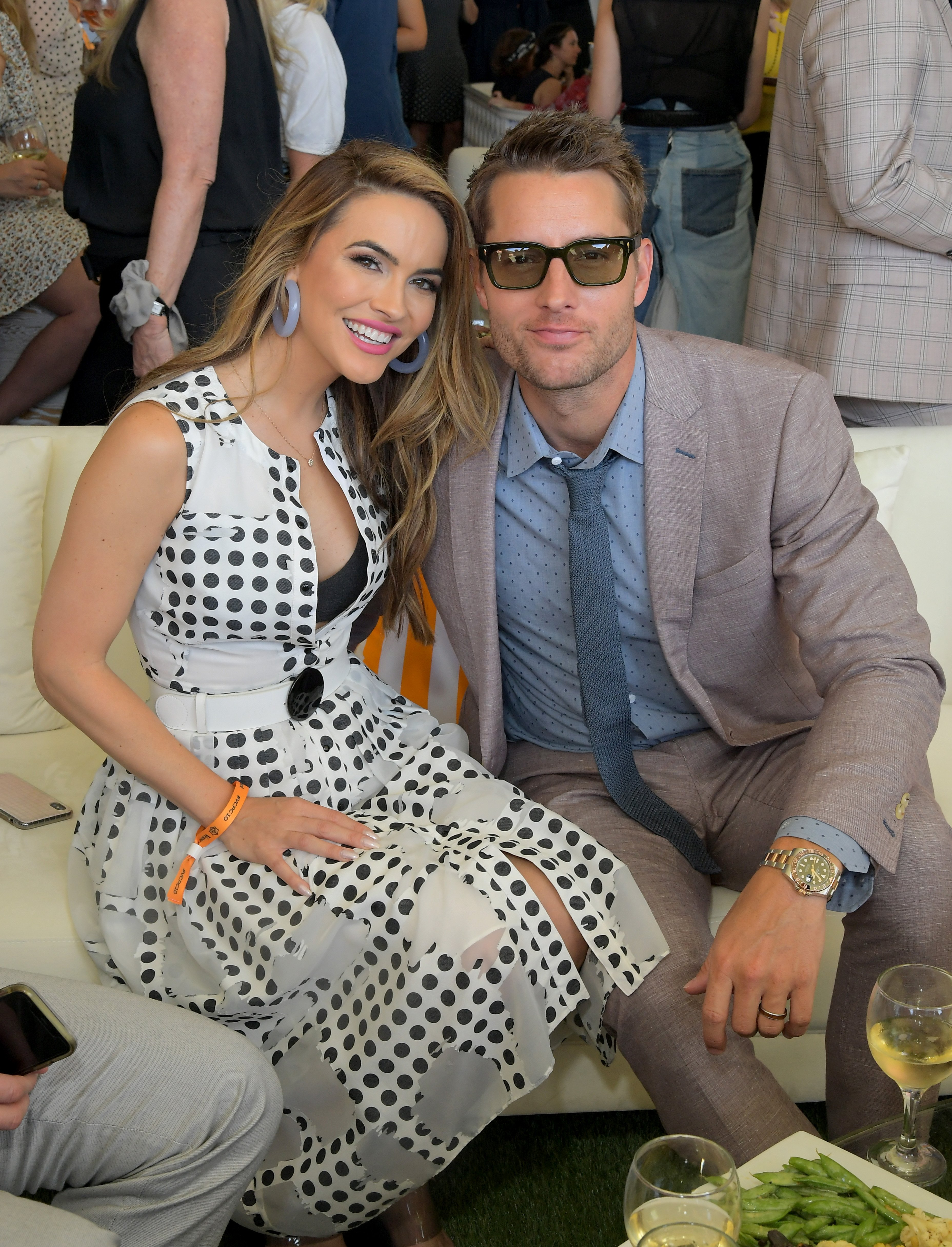 Chrishell Stause and Justin Hartley attend the 10th Annual Veuve Clicquot Polo Classic Los Angeles on October 05, 2019, in Pacific Palisades, California.   Source: Getty Images.