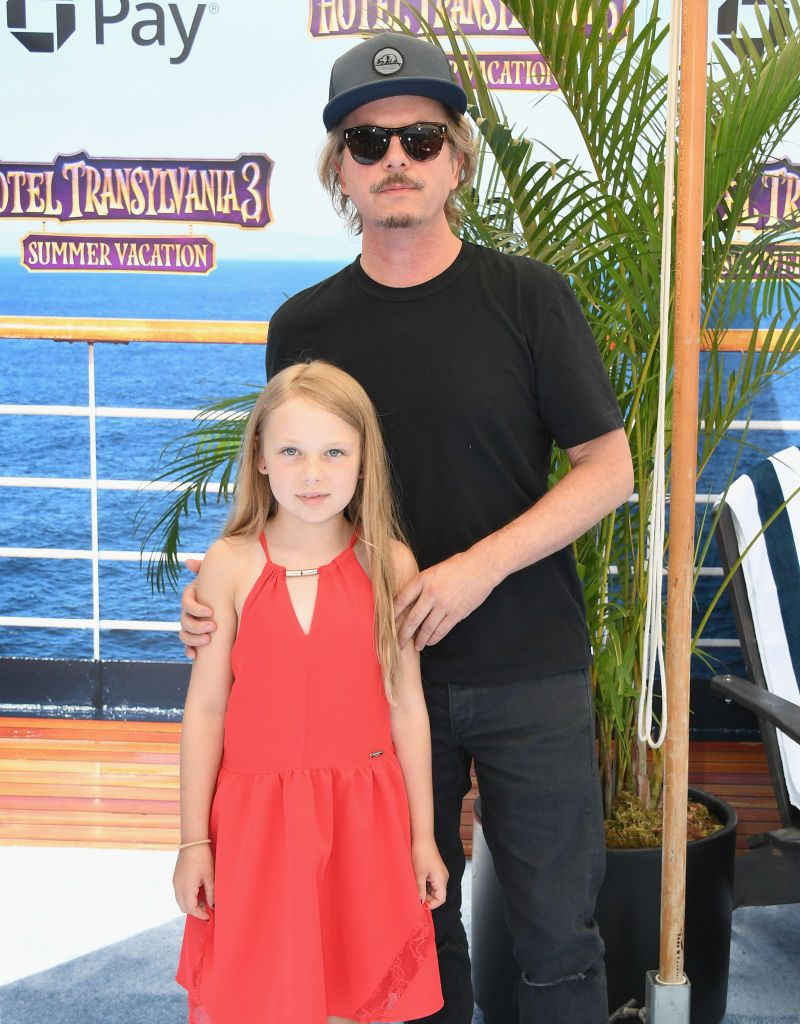 "David Spade and daughter Harper at the world premiere Of ""Hotel Transylvania 3: Summer Vacation"" in 2018 