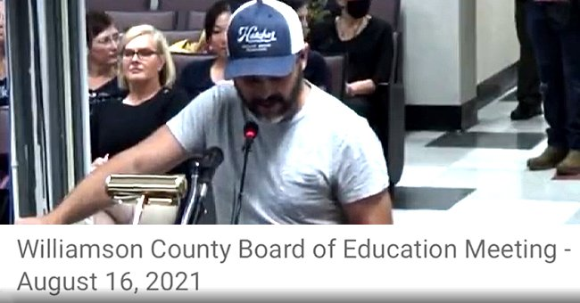 Justin Kanew giving a speech at the Williamson County Board of Education. │ Source: twitter.com/TheTNHoller