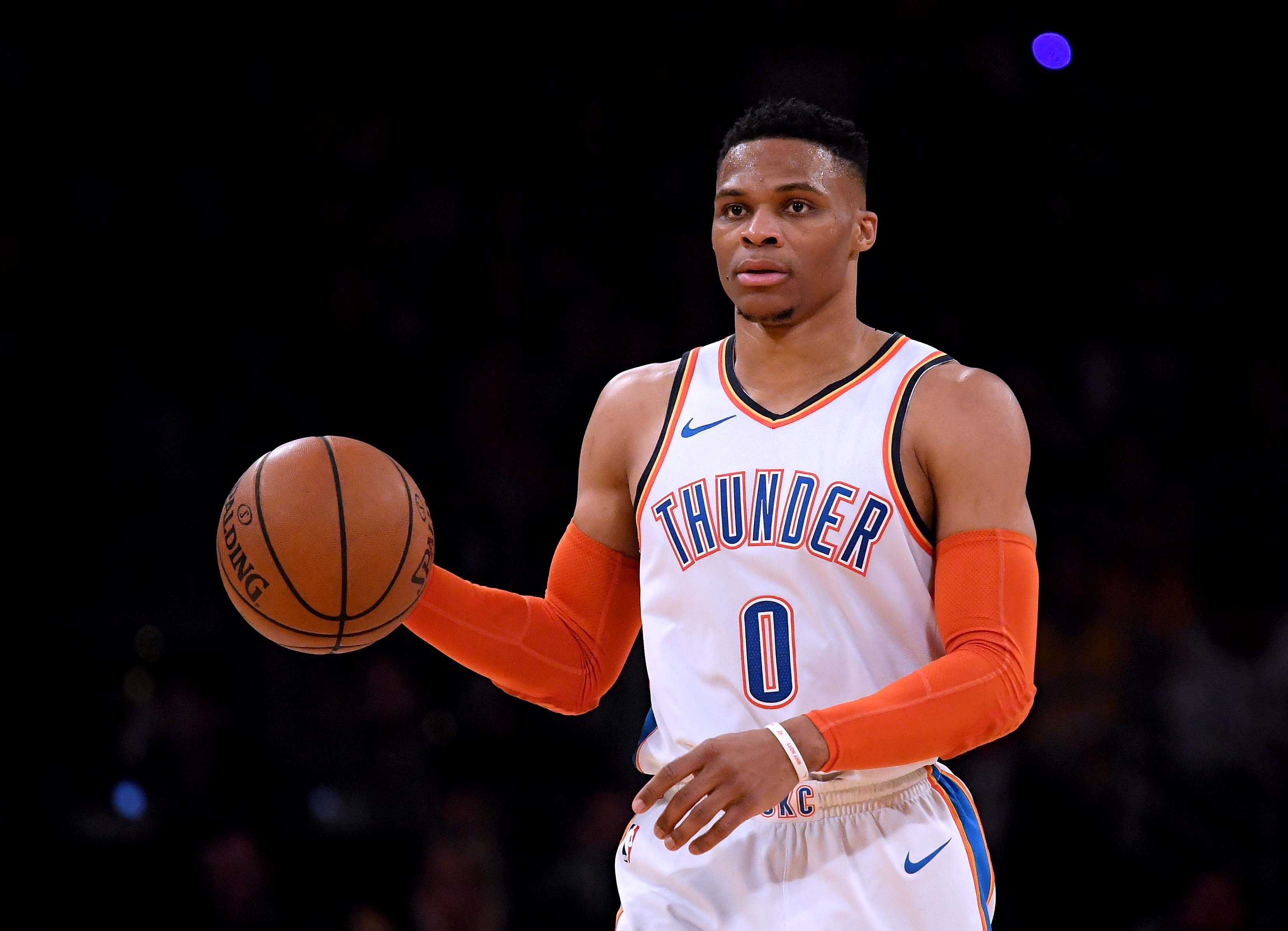 Russell Westbrook #0 of the Oklahoma City Thunder during a 107-100 win over the Los Angeles Lakers at Staples Center on January 02, 2019. | Source: Getty Images
