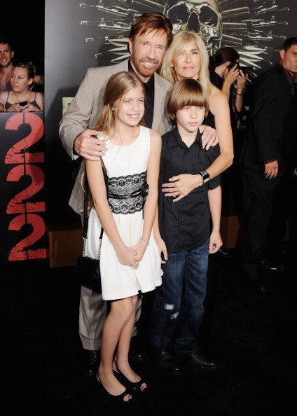 "Chuck Norris, wife Gena O'Kelly, daughter Danilee Kelly and son Dakota Alan arrive at the Los Angeles Premiere ""The Expendables 2"" on August 15, 2012 