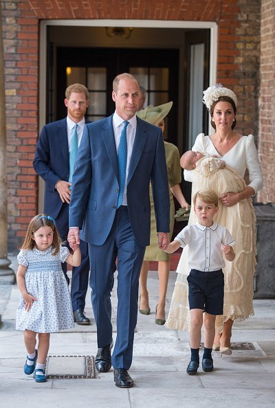 Princess Charlotte, Prince George, Prince William, Kate Middleton, and Prince Louis arrive at the Chapel Royal, St James's Palace, London for the christening of their brother, Prince Louis on July 09, 2018, in London, England.| Source: Getty Images.