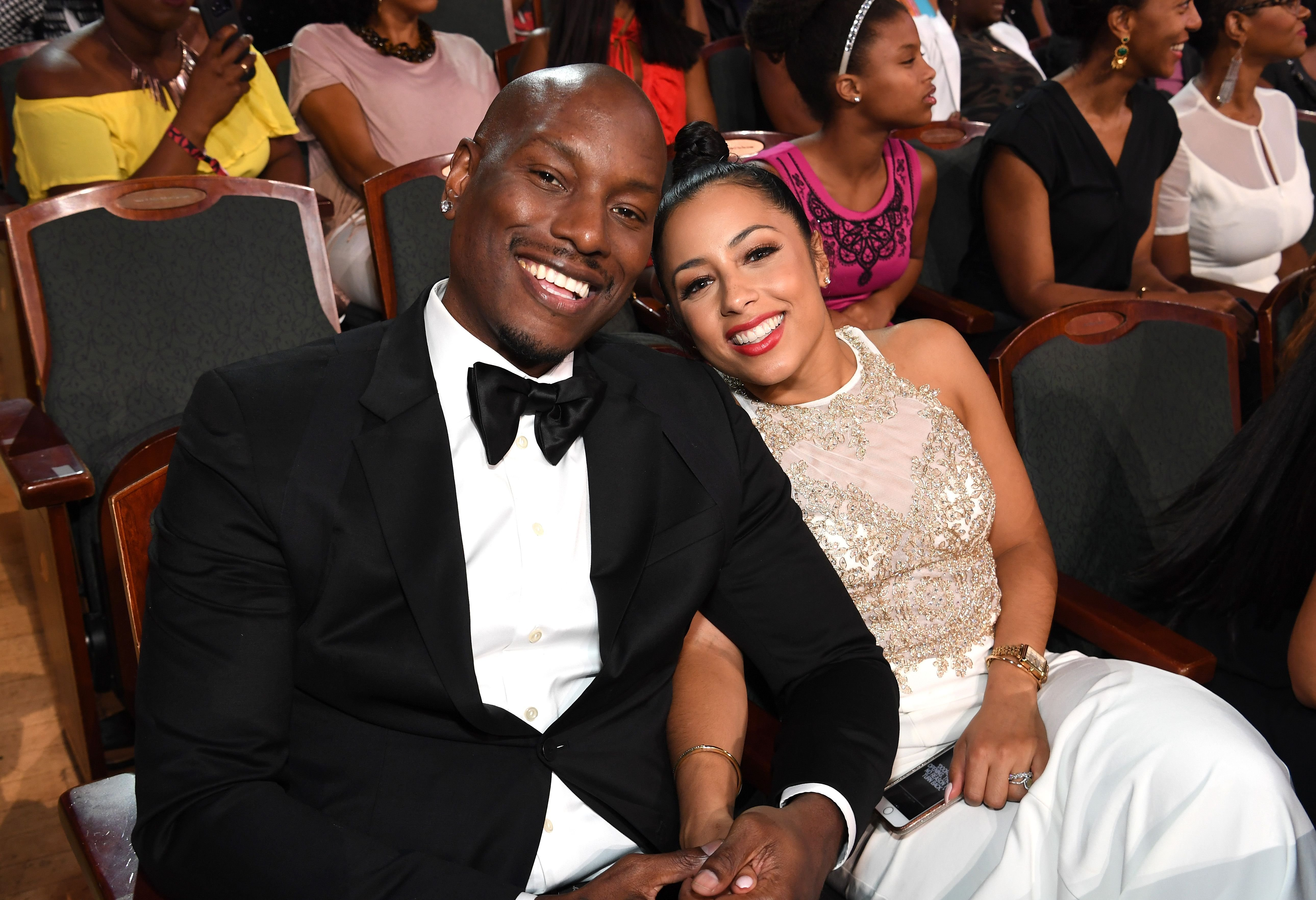 "Tyrese Gibson and his wife Samantha Gibson sit in the audience at  ""Black Girls Rock!' on August 5, 2017, New Jersey 