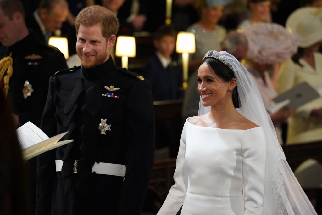 Prince Harry and Meghan Markle stand at the altar during their wedding in St George's Chapel at Windsor Castle on May 19, 2018 | Photo: GettyImages