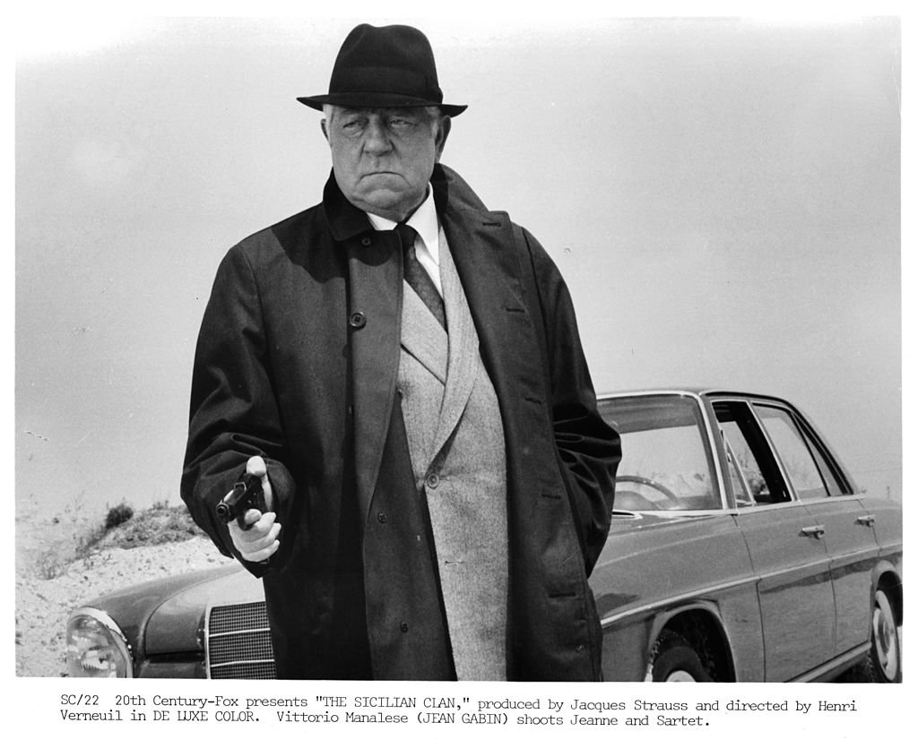 "L'acteur Jean Gabin sur le tournage du film ""Le clan sicilien"", vers 1969. 