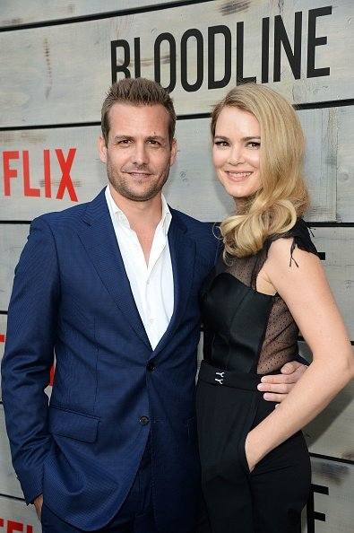 """Gabriel Macht and actress Jacinda Barrett attend the Premiere of Netflix's """"Bloodline"""" at Westwood Village Theatre on May 24, 2016, in Westwood, California. 