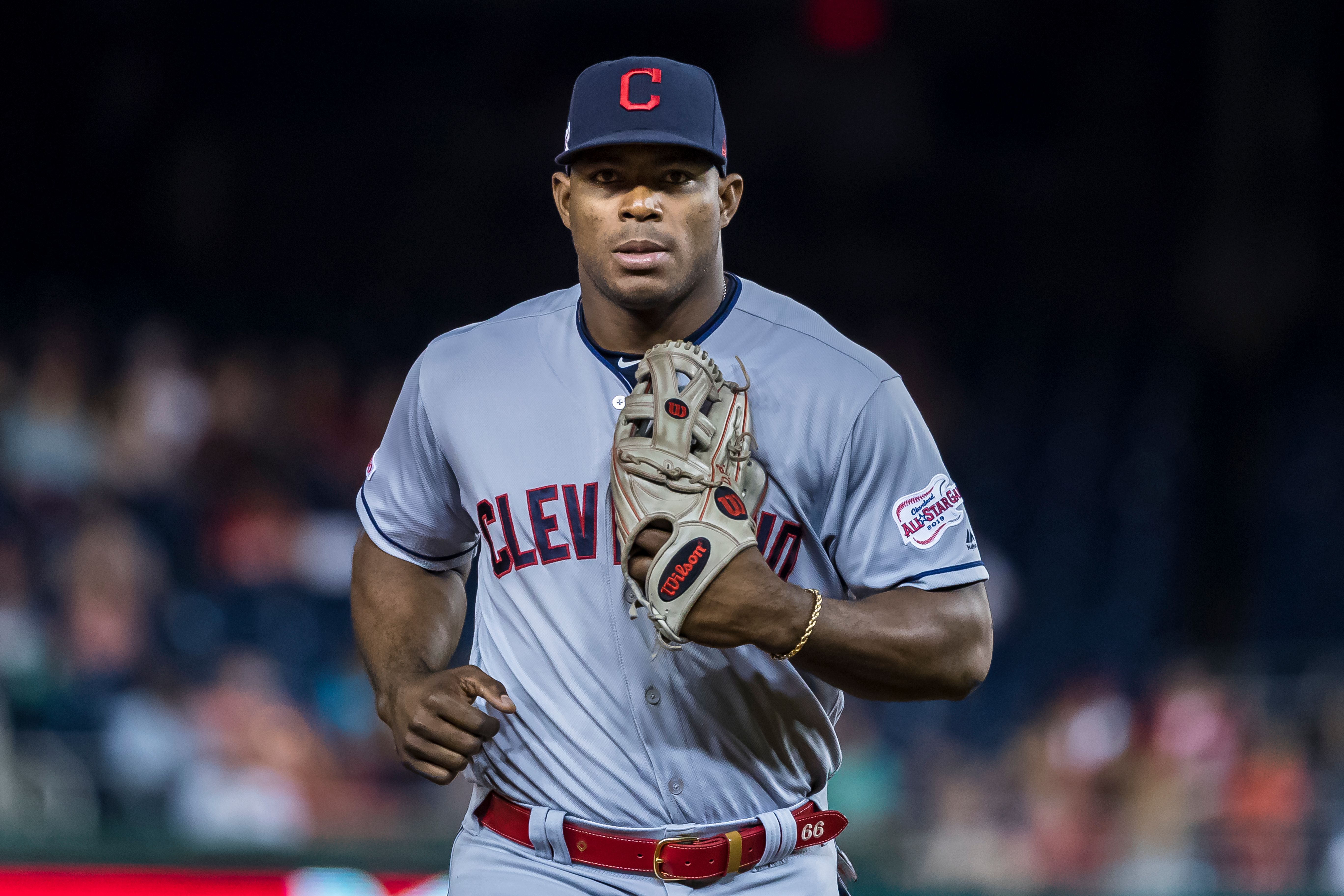 Yasiel Puig #66 of the Cleveland Indians returns to the dugout after fielding during the eighth inning against the Washington Nationals at Nationals Park on September 27, 2019 in Washington, DC   Photo: Getty Images