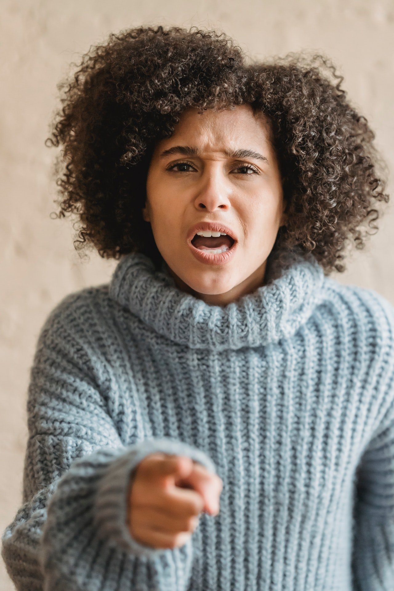 An apparently angry woman who appears to be disappointed.   Photo: Pexels