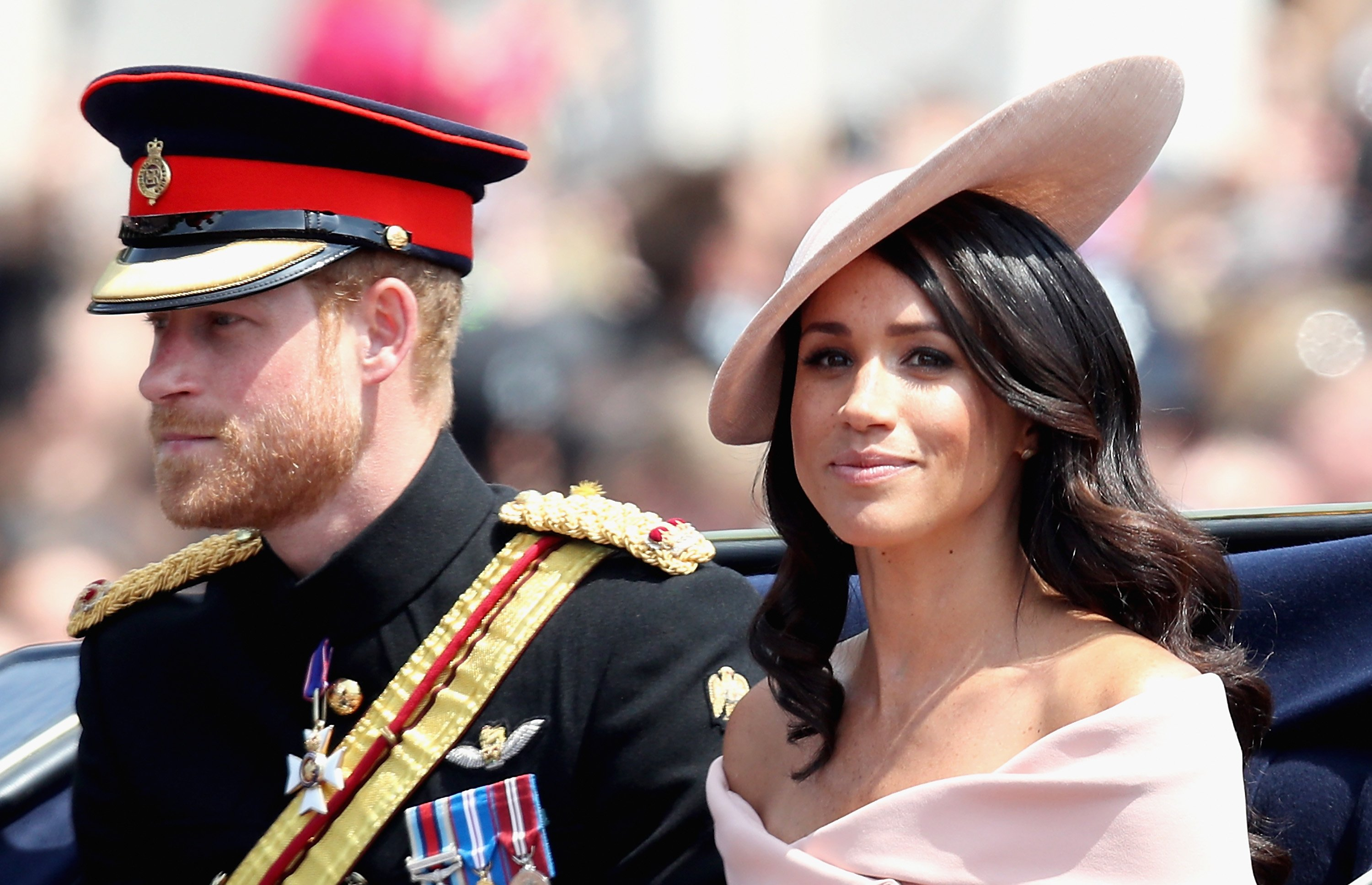 Meghan Markle and Prince Harry during Trooping The Colour on the Mall on June 9, 2018, in London, England.  | Source: Getty Images.
