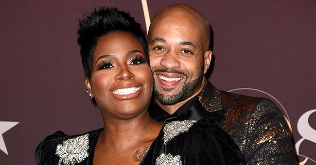Fantasia Flaunts Her Baby Bump Wearing a Tight Gold Dress In a Photo Shoot With Husband Kendall