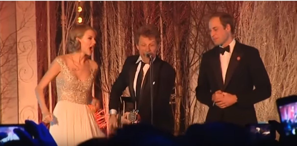 Prince William, Taylor Swift and Bon Jovi sing Livin' On a Prayer at the Winter Whiets Gala charity ball at Kensington Palace  many years ago| Photo: Youtube /  The Royal Family Channel
