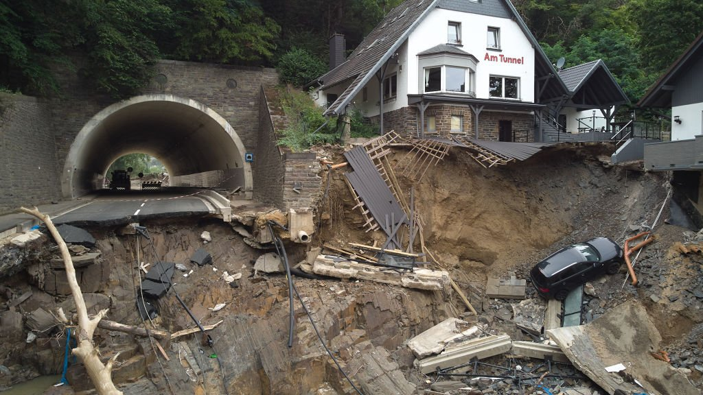 The main road leading through the Ahr valley has been swept away by the flood behind a tunnel near Altenahr, Germany. August 9, 2021 | Source: Getty Images