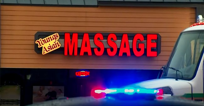 A photo of the store front of Youngs Asian Massage parlor, Atlanta 2021. | Photo: YouTube/Global News