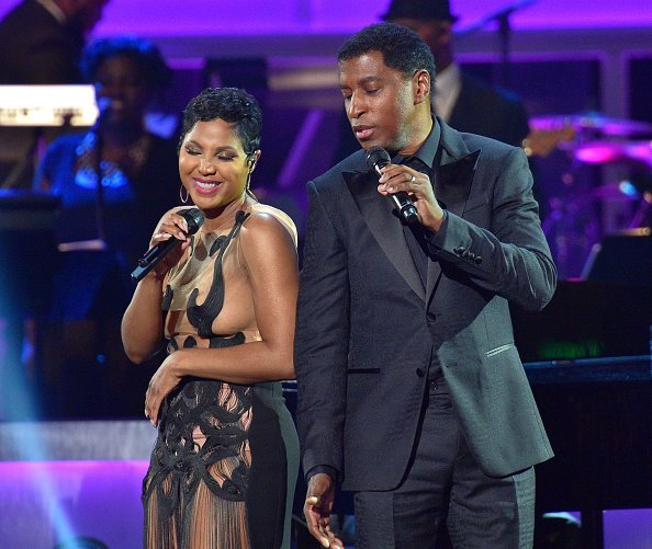 """Artist Toni Braxton and Kenneth """"Babyface"""" Edmonds perform onstage at An Evening of Stars at Atlanta Civic Center on April 12, 2015 in Atlanta 