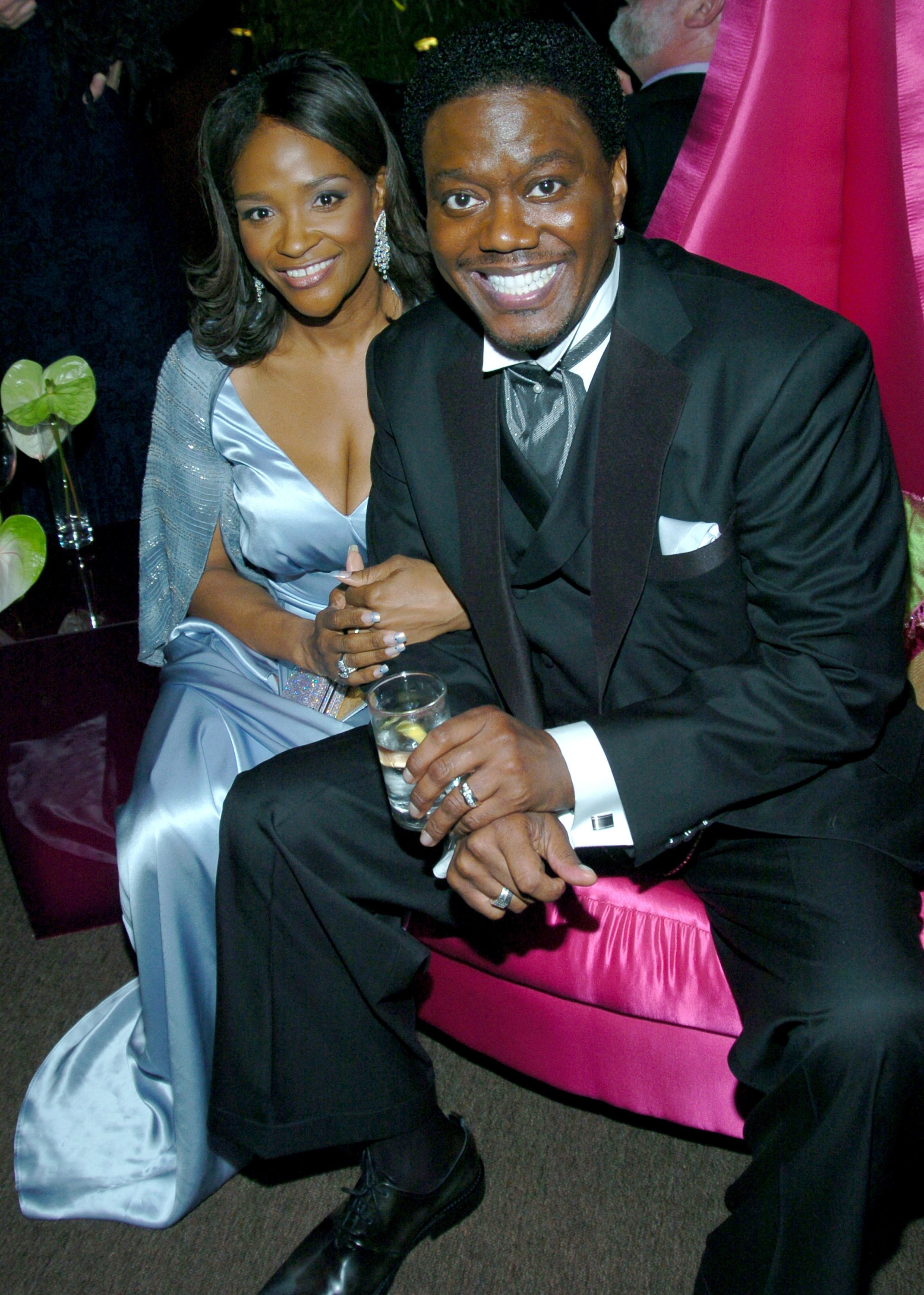 Bernie Mac and his wife Rhonda during The 61st Annual Golden Globe Awards on January 25, 2004.   Photo: Getty Images