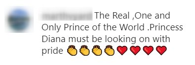 A fan's comment on a photo-post of Prince Harry doing volunteer work | Photo: Instagram / walkerfamilyeventsfoundation