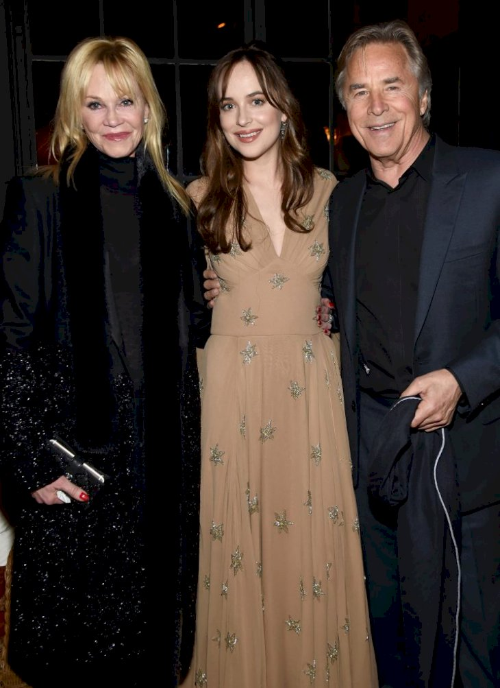NEW YORK, NY - FEBRUARY 03: Melanie Griffith, Dakota Johnson, and Don Johnson attend the after party for the New York premiere of