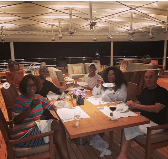Oprah surrounded by friends and family on her birthday | Instagram: @gayleking