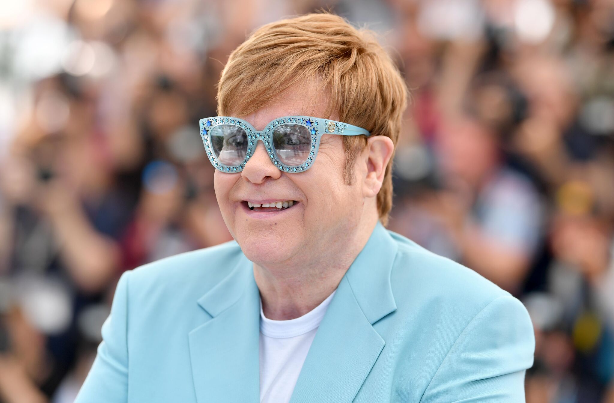 "Sir Elton John attends the photocall for ""Rocketman"" during the 72nd annual Cannes Film Festival  