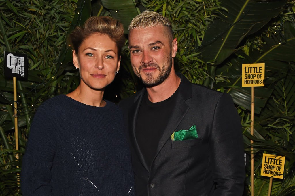 """Emma Willis and husband Matt Willis attend the press night after party for """"Little Shop Of Horrors"""" at Regent's Park Open Air Theatre on August 10, 2018. 