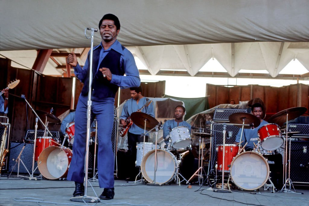 James Brown performs with 3 drummers at the Newport Folk Festival on July 6, 1969. | Photo: Getty Images